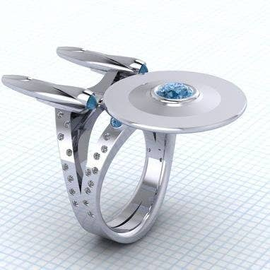 star trek uss enterprise ring 600 - Nerd Wedding Rings