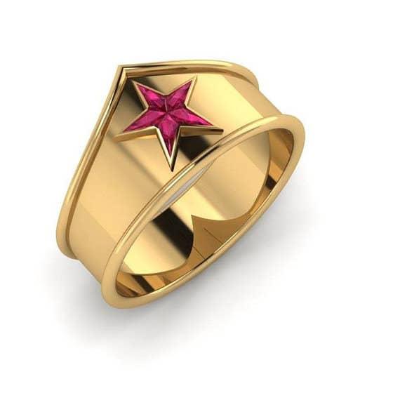 wonder woman ring 595 - Nerd Wedding Rings