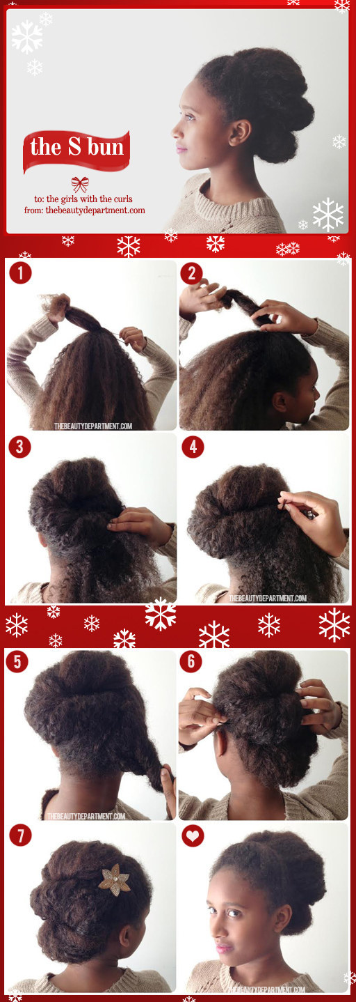 If you have curly hair, twist and pin it into an S-bun.