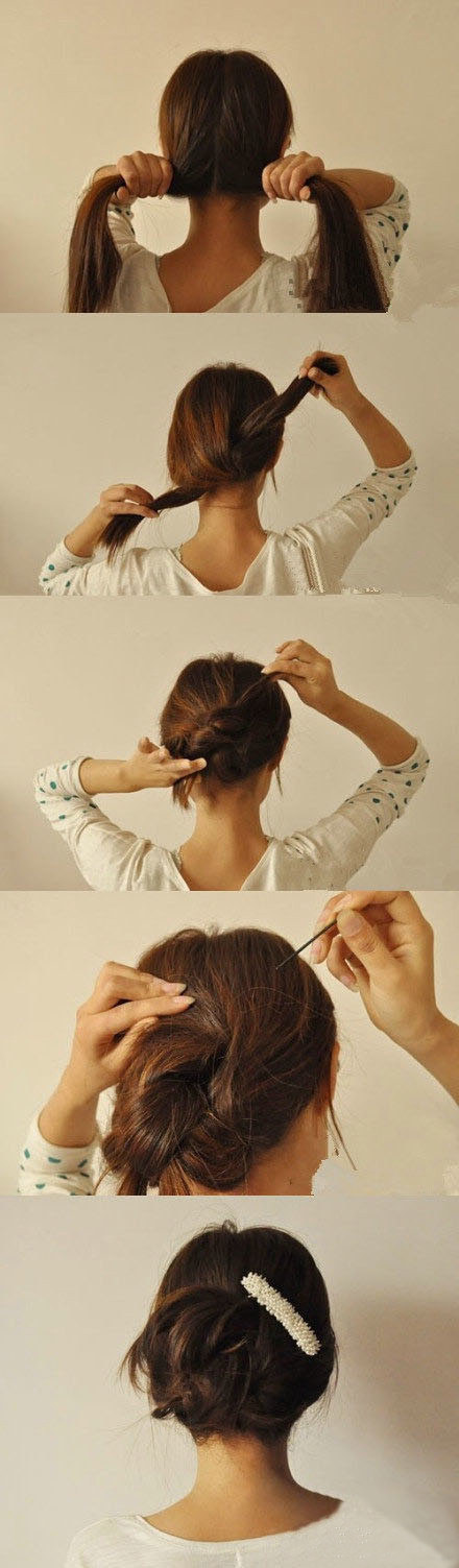 Or tie it in a knot and add a few bobby pins.