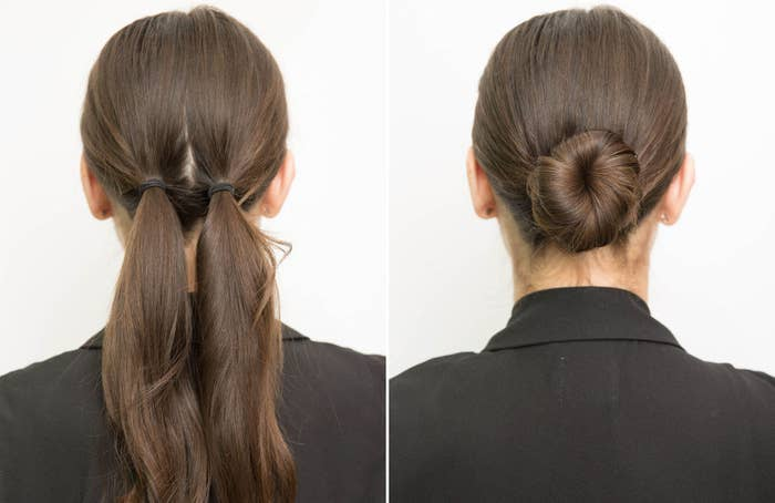 Prevent your low bun from loosening by tying your hair in two pigtails  first. 485e9a2f668