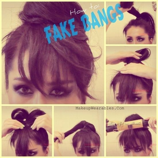 And finally, if you're looking to mix up your look, use a bun to make fake bangs.