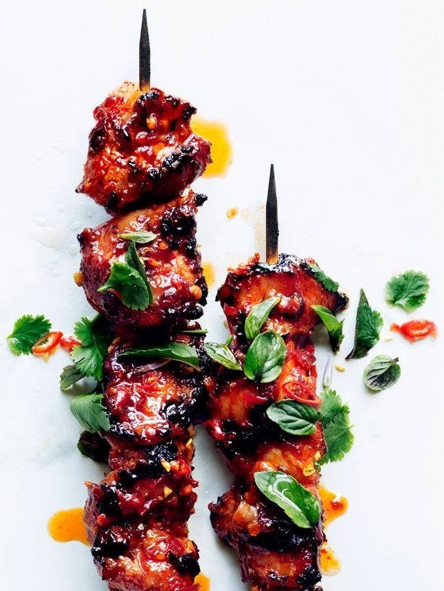 With a spicy, sticky glaze made of brown sugar and Sriracha. Get the recipe.