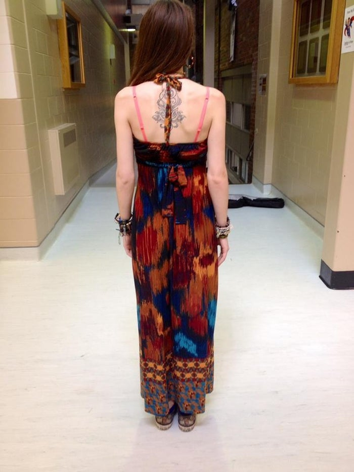 """This was the full-length dress she wore to school on Monday. According to Wiggins, school officials told her the garment was a """"sexual distraction"""" to fellow male students."""