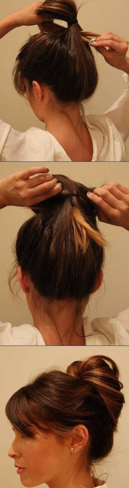 You can put it in a ponytail first and then pull the tail end through and pin.