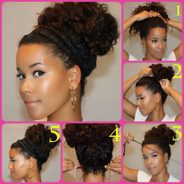 Use can multiple elastic headbands to make a pretty halo bun, too.