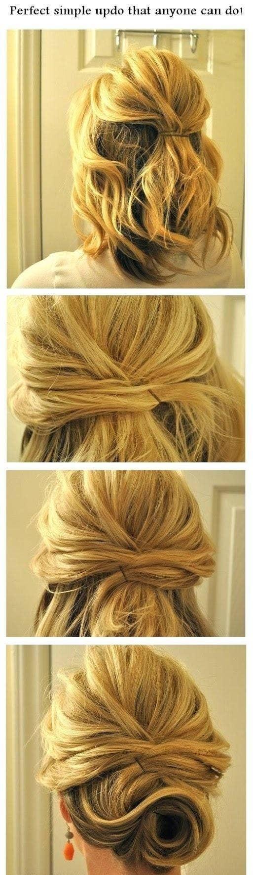 If You Have Short Hair, Crisscross Hair For A Messy Bun Effect