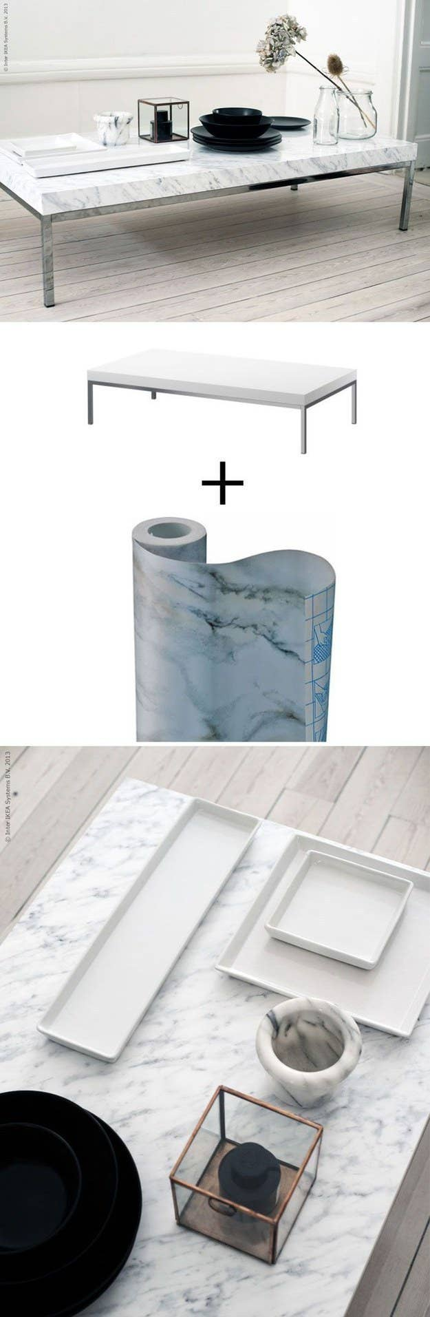 Cover a table with marble contact paper.