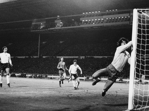 Jan Tomaszewski makes another save in England's 1-1 draw with Poland in 1973.