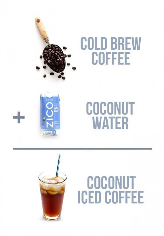 No matter what some people say, coconut water is delicious — especially when it's mixed with coffee. You can now make your own mix instead of buying it in store, which means you can play around with fun additions, like flavored syrups!