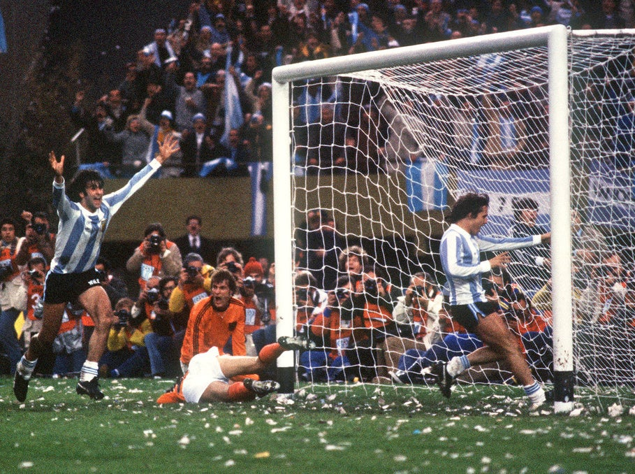 Mario Kempes of Argentina scores the winning goal in the controversial 1978 World Cup Final