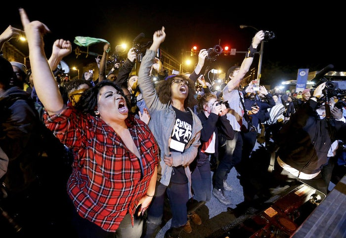 Protesters defied a 10 p.m. curfew in Baltimore Friday.