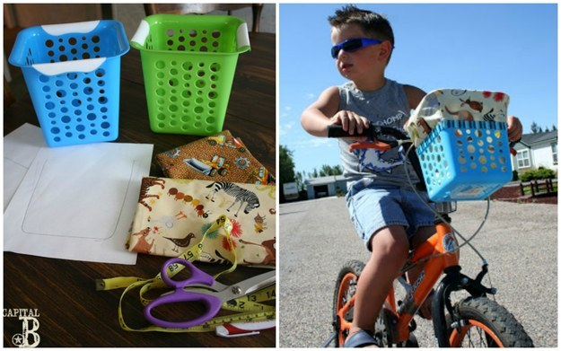 Tie a dollar-store basket to the front of your kid's bike.