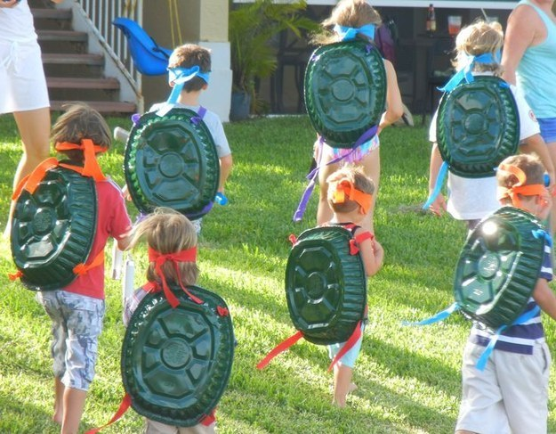 Spray-paint a roasting pan to make the ultimate low-budget Teenage Mutant Ninja Turtles costume.