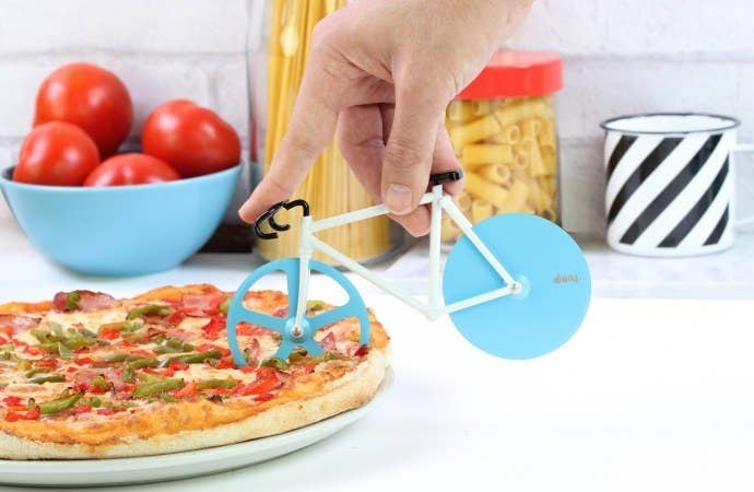 Can you imagine what it would be like to *actually* ride a bike through a giant pizza? The cheese would probably clog up your pedals pretty fast, tbh.Price: $18