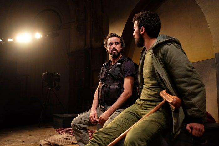 Hassan Taha (left) and Faisal Abu Alheja rehearse at the Battersea Arts Centre in London on May 20.