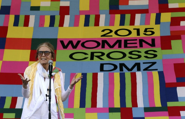 Gloria Steinem speaks during the welcoming ceremony for Women Cross DMZ at Imjingak Pavilion near the border village of Panmunjom, in Paju, South Korea.