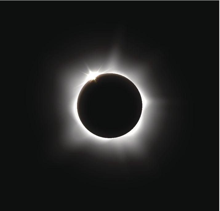 La Luna, según La Sociedad, es esférica. El eclipse solar ocurre porque la órbita de la luna está debajo de la del Sol y a veces se interceptan. Esto no explica por qué no siempre ocurren los eclipses en el mismo lugar y al mismo tiempo, pero la vida está llena de misterios.