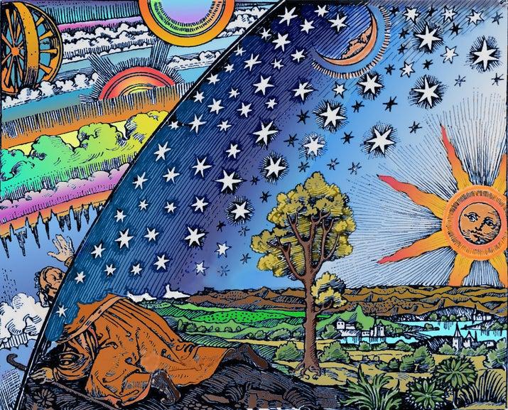 Porque, según La Sociedad de la Tierra Plana, los planetas y las estrellas, desde el Sol hasta las galaxias más lejanas que hemos visto, son chiquitos y están sólo a unos cientos de kilómetros sobre la superficie de La Tierra, orbitándola porque la gravedad no existe.(?)
