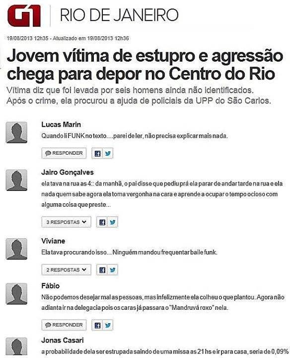 Daiane Novaes postou no Facebook em 2013 um compilado de comentários misóginos e machistas feitos em uma notícia do mesmo ano sobre um estupro no Rio.