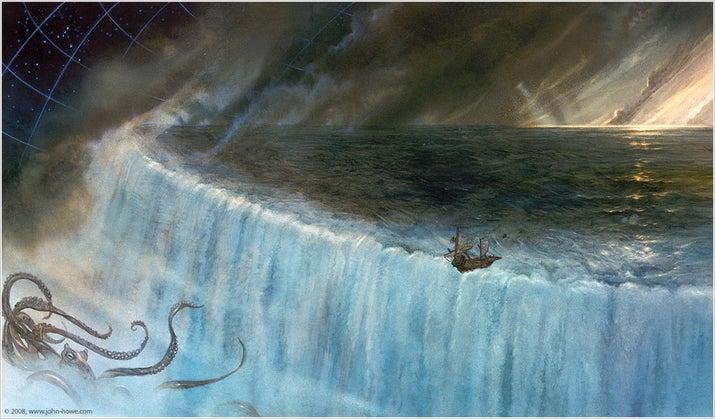 El mundo plano según la ciencia es mucho más interesante. En el Polo Norte (el centro del Planeta) no notaríamos la diferencia, pero conforme nos fuéramos acercando hacia el borde del mundo, la gravedad comenzaría a jalarnos hacia el centro, como en una pendiente.Las mareas serían generadas por cascadas masivas en las que el océano cae del borde de la Tierra, pero hacia adentro, hacia su centro.