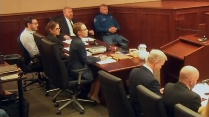 James Holmes is seated during his trial in Arapahoe County District Court in Centennial, Colorado, in this still image captured from pool video footage, April 27.