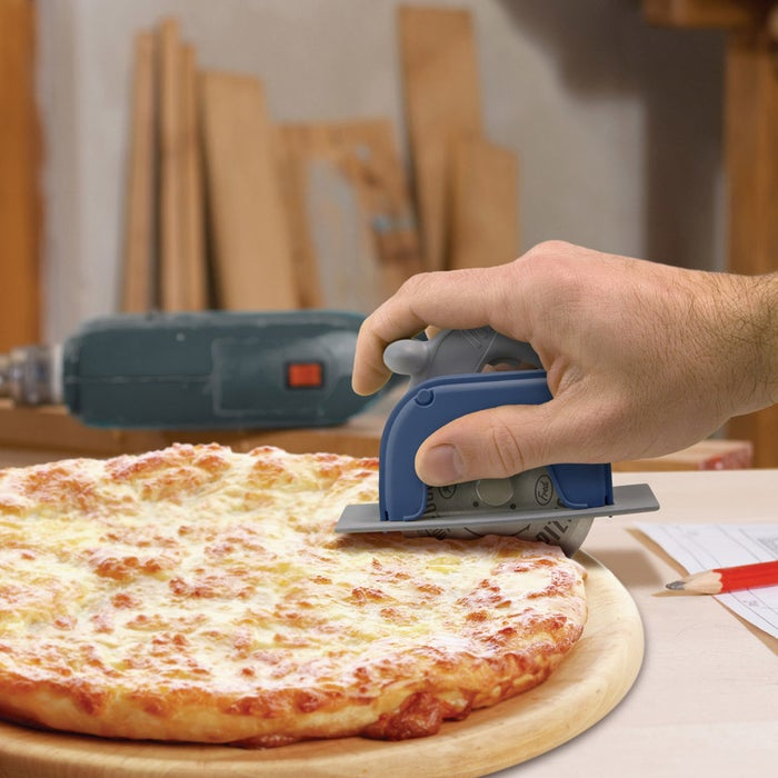 It looks and feels like a miniature circular saw but, really, it's mean, lean slicer.