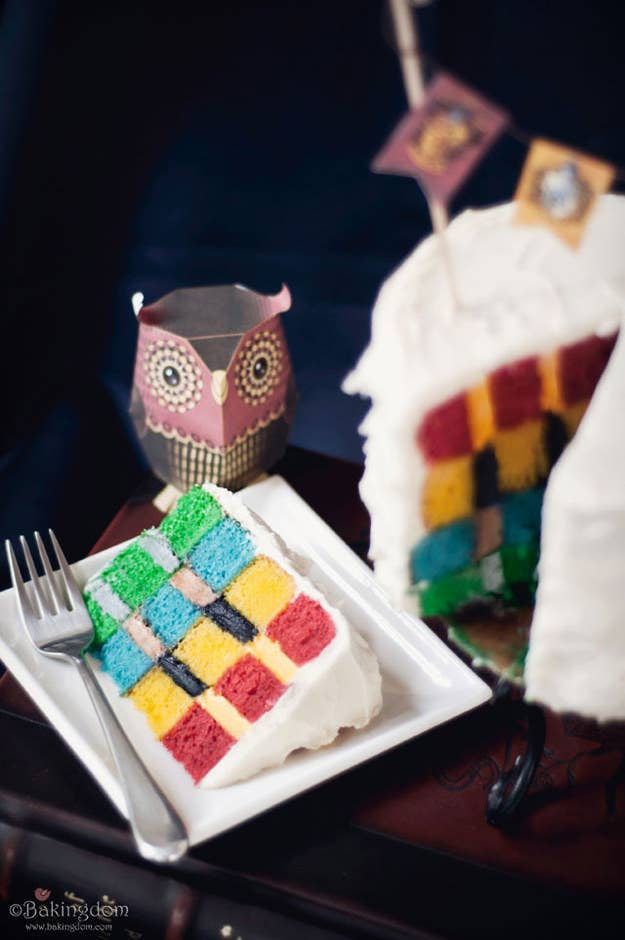 When Its Time For The Actual Birthday Cake Serve One That Reps Four Main Hogwarts House Colors