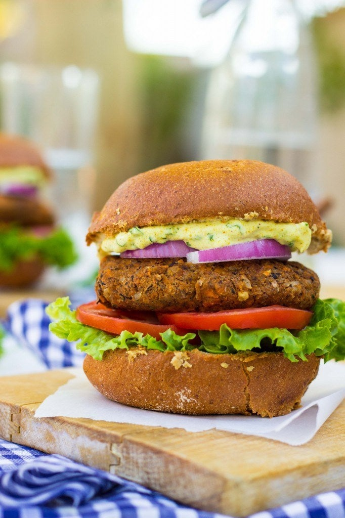 Sweet potatoes are a perfect binder for veggie burgers! Get the recipe here.