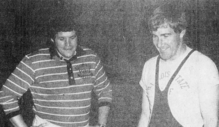 Hastert, left, in 1975 as a wrestling coach