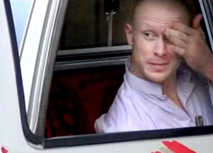 Sgt. Bowe Bergdahl, sits in a vehicle guarded by the Taliban in eastern Afghanistan, before his release to the U.S. military.