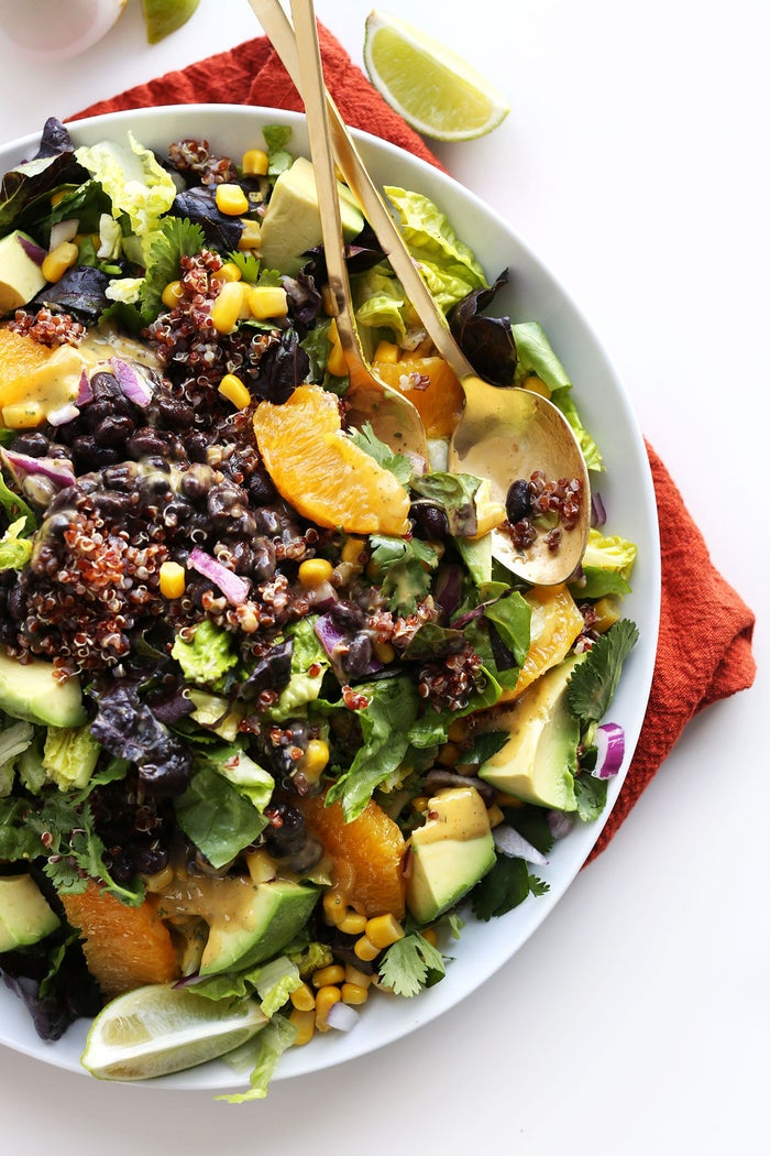 This is a salad in name only. The quinoa, black beans, corn, and avocado make this a hearty and satisfying meal. Recipe here.