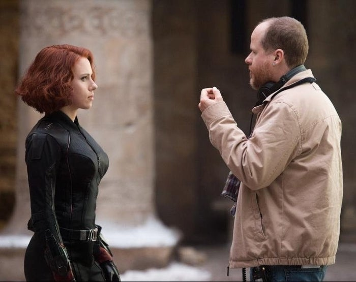 Scarlett Johansson and Whedon on the set of Avengers: Age of Ultron.
