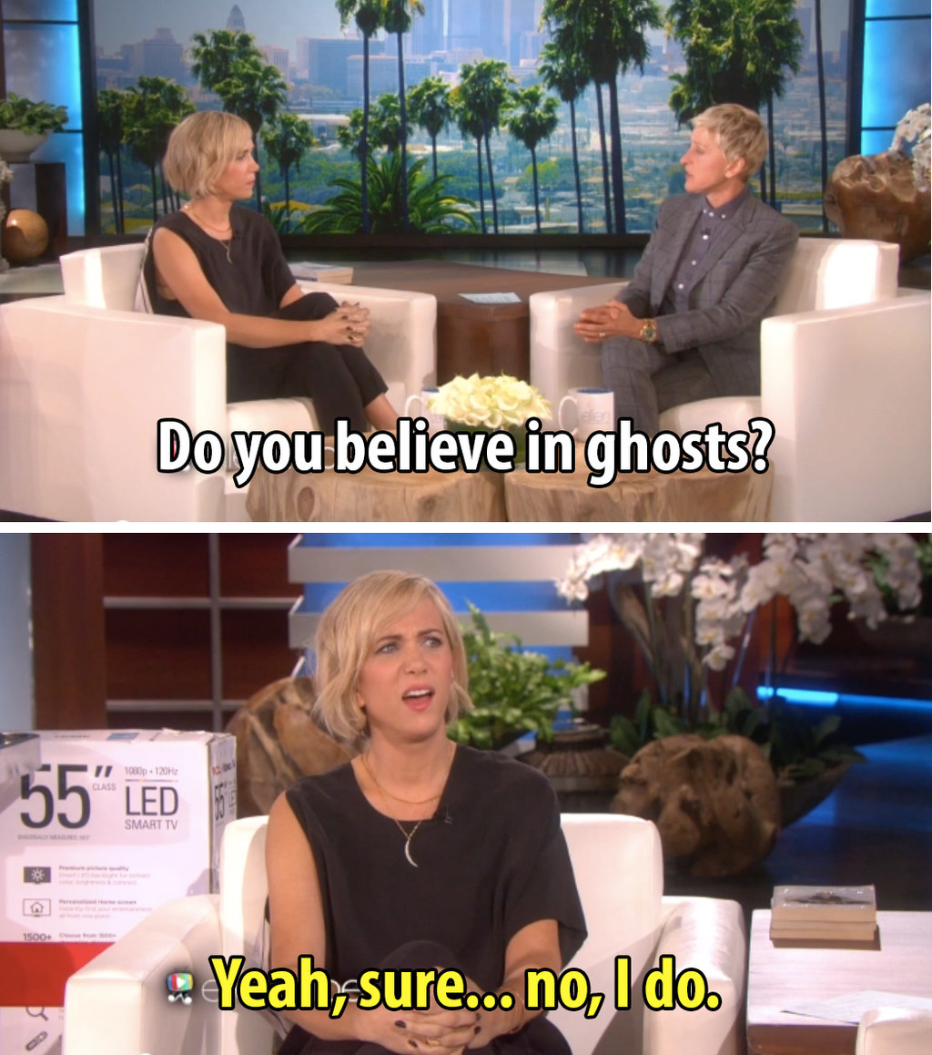 Ellen DeGeneres Had A Ghost Scare The Crap Out Of Kristen Wiig