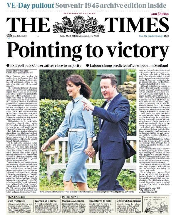 """The headline has now been changed to """"Pointing to victory""""."""