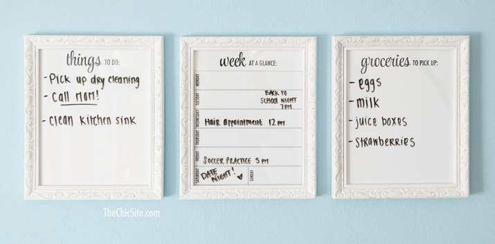 Print out the free templates at The Chic Site and then add them to any 8x10 frames. Hang them in your entryway (so you'll remember what you need to do after heading out the door).