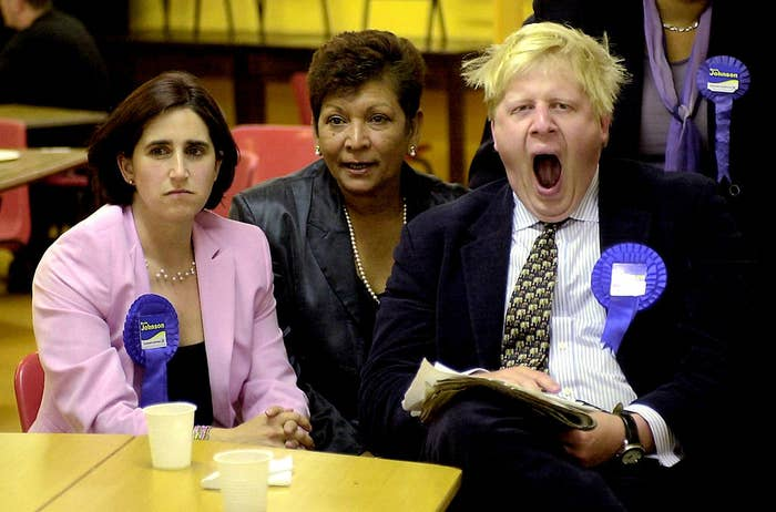 Boris Johnson waiting for the election results in Henley in 2001.