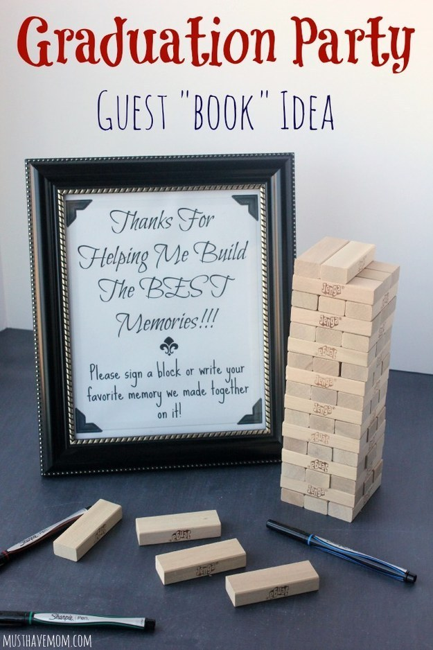 21 or make a game out of it by writing on jenga blocks - Graduation Party