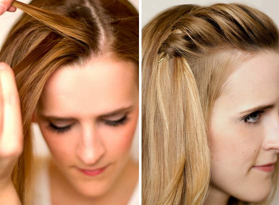 If you can do a twist — or overlap two sections of hair — you can do a waterfall braid. Tutorial here.