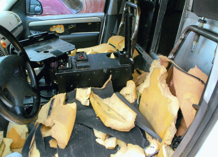 "Interior of the police SUV after the officer found Primo ""lying in the back coughing."""