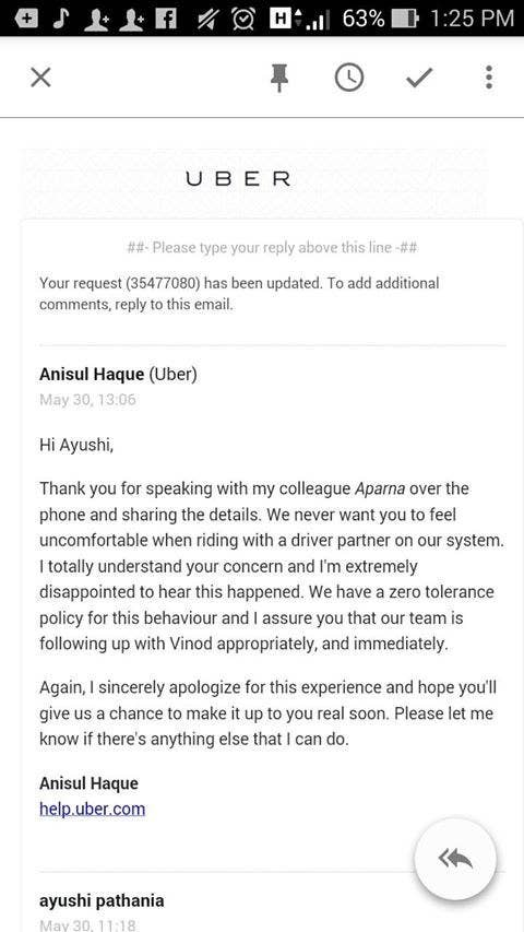 An uber driver allegedly tried to kiss a passenger in new delhi pathania also posted ubers reply ccuart Choice Image