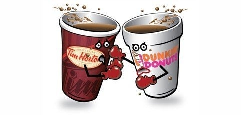 Image result for dunkin donuts and tim hortons