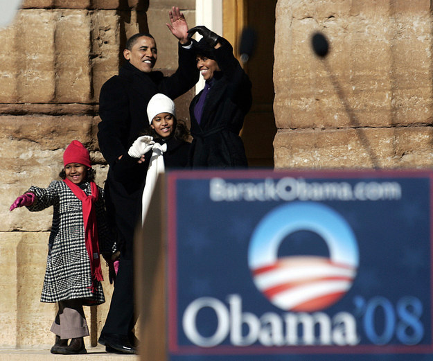 2007 - In Illinois after her dad officially announces his quest to become president.
