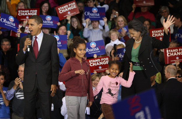 2008 - With her family during a campaign rally in Iowa.