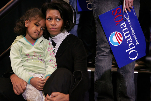 2007 - Siting with her mom during Barack's campaign rally for the Democratic nomination.