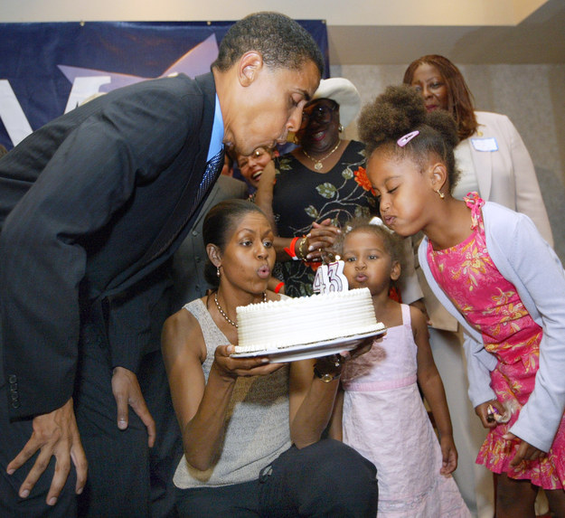 2004 - Celebrating her dad's birthday.