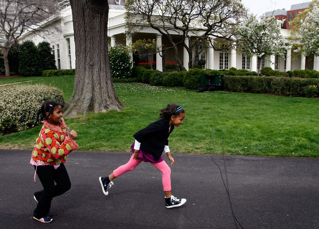 2009 - Running around the South Lawn of the White House during the Easter Egg Roll.