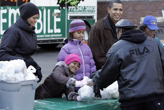 2008 - Passing out food in Chicago with her family.
