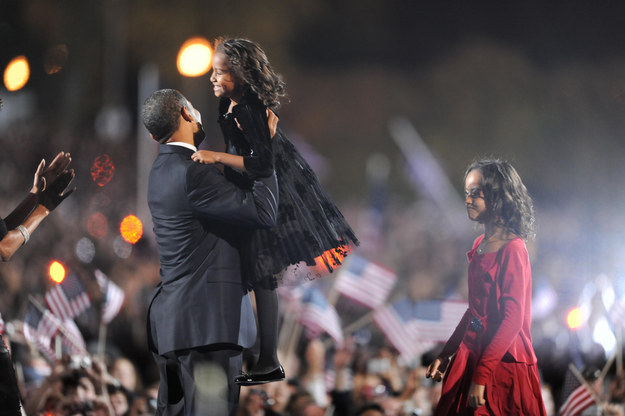 2008 - Hugging her dad after his victory speech in Chicago.