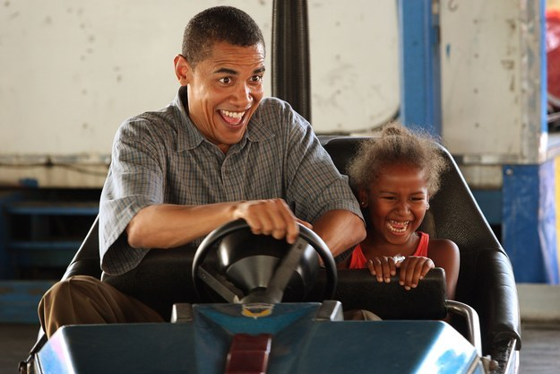2007 - Riding a bumper car with her dad.